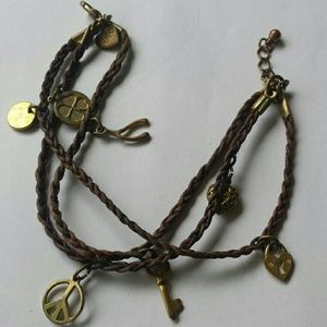 American Eagle Outfitters leather charm bracelet